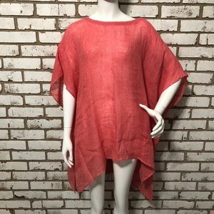 NWOT Eileen Fisher Coral Linen Cover Up (Large)